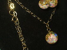 BEAUTIFUL FLOATING OPALS GOLD FLAKE SNOW GLOBE PENDANT AND EARRINGS