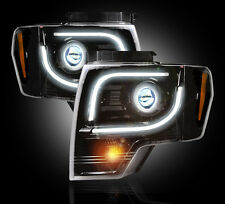 Recon 264273BK - Black Smoked Ford Projector Headlights 13-14 F-150 SVT Raptor