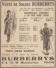 Z9664 Vente de Soldes BURBERRYS -  Pubblicità d'epoca - 1934 Old advertising
