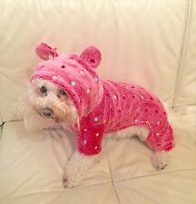 Pink Bunny Fleece Dog Onesie -Chihuahua Teacup Maltese Puppy 8 inch Length XXS