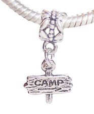 Camp Sign Camping Summer Vacation Dangle Bead for Silver European Charm Bracelet