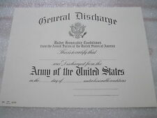US ARMY GENERAL DISCHARGE CERTIFICATE blank DD original for replacement