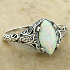 WHITE LAB OPAL 925 STERLING SILVER ANTIQUE FILIGREE DESIGN RING SZ 5.75,#630