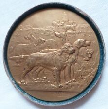 Médaille 1923 EXPOSITION CANINE AVIGNON PAR RIVET FRENCH DOG ART MEDAL IN BOX
