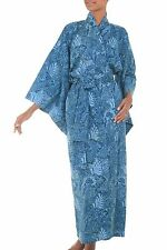 Batik Robe Kimono 'Blue Forest' Women's Cotton One Size Artisan-Made NOVICA Bali