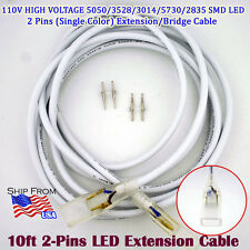 10ft 2Pins 110V Single Color LED Strip Extension Cable 5050/3528/3014/5730/2835