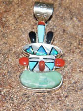 Zuni Native American Indian Inlaid Mask Pendant Multicolor Bevis Tsadasia