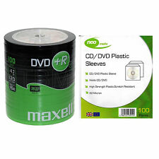 100 Maxell DVD+R 4.7 GB(16x) Shrink Wrap+100 Plastic CD/DVD Sleeves (80 Micron)