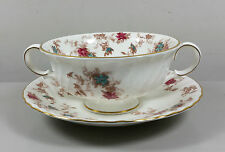 MINTON ANCESTRAL S376 CREAM SOUP COUPE / CUP AND SAUCER (PERFECT)