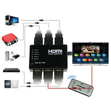 5 Port 1080P Video HDMI Switch Switcher Splitter for HDTV DVD PS3+ IR Remote EW