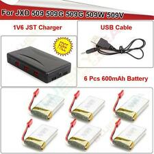 6Pcs JXD 509W 509G 600mAh Lipo Battery + 6 in1 Charger RC Quadcopter Spare Parts