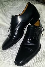 STEFANOBI Italy Classic Mens Oxfords Size 7 Mens Shoes BLACK Hand-made NICE