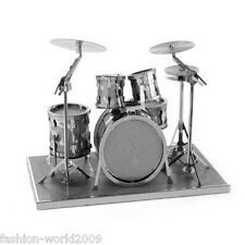 3D Metal Model Puzzle Nano Metallic Laser Cut Jigsaw Kid Toy Gift - Drum kit