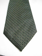 Claiborne Black Silk Necktie w/ Green Geometric Checks