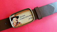 JOHN WAYNE Epoxy Photo Belt Buckle & Brown Bonded Leather Belt (28-54) - NEW!