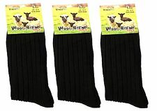 6x Men's Chunky Wool Boot Socks New Long Thermal Black Work Winter 6-11 heavy
