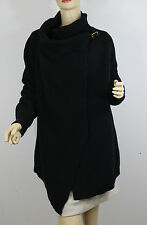 Ralph Lauren Polo Sweater Wrap Womens Small Black Cotton Leather Buckle New
