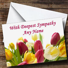 Tulips Personalised Sympathy / Sorry For Your Loss Greetings Card