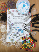 Large Jewellery Making Kit inc Tools, Book, Findings, Beads and Threads