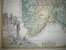 ANTICHISSIMA MAPPA GEOGRAFICA_NORVEGIA_BELLA CARTOGRAFIA A COLORI_DECORATIVA