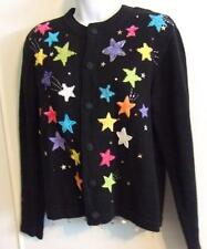 Jack B Quick Embellished Black Sweater Shooting Stars PS Petite Small