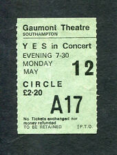 1975 Yes concert ticket stub Gaumont Theatre Southampton UK Relayer Tour