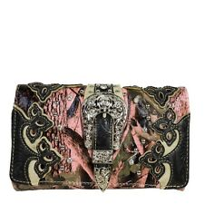HOT PINK WESTERN CAMO BUCKLE LOOK CLUTCH TRIFOLD WALLET COUNTRY WESTERN BLING