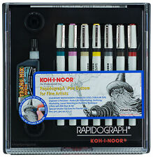 Koh-I-Noor Rapidograph Professional Technical Pen System Set For Fine Artists