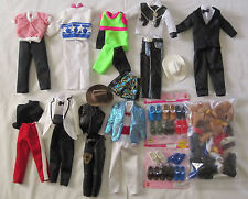 Lot of Ken Doll Clothing 9 outfits 20+pieces 30+ pairs of shoes Nice condition