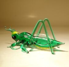 Blown Glass Art Figurine Green Insect Cricket GRASSHOPPER
