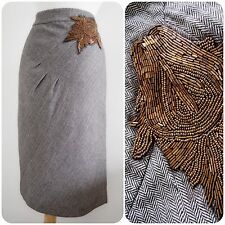 LAURA Ashley TWEED 1930's 40'S SKIRT beaded embellished ART DECO herringbone 18