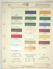 1973 AMC PPG COLOR PAINT CHIP CHART JAVELIN AMX  MORE