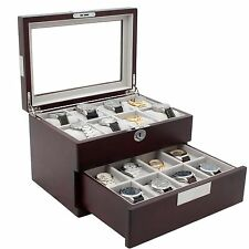 Watch Box Storage 16 Large Watches Cherry Wood Finish with Engravable Fits 64mm