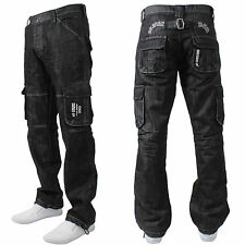 BNWT NEW MENS ENZO BRANDED DESIGNER COMBAT JEANS PANTS WAIST SIZES 28-42 EZ08