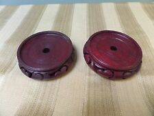 """A pair 3.3/4"""" wooden  vase stands"""