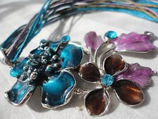 """Silverplated teal lilac brown enamel crystal 29 gram 16-17.5 """" pendant necklace"""
