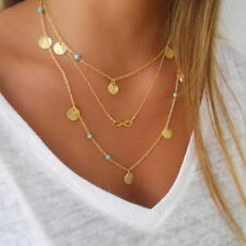 Hot Retro Multi layer Necklace Gold Turquoise Dot Personality Accessories