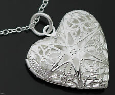 GORGEOUS GIFT FILIGREE LOVE HEART LOCKET STERLING SILVER PLATE CHAIN NECKLACE