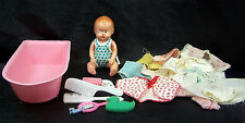 Vintage Hard Plastic Baby Doll with Layette and Bathtub