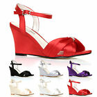 LADIES WEDDING SHOES WHITE IVORY SATIN HEELS WOMENS BRIDESMAID EVENING SHOE SIZE