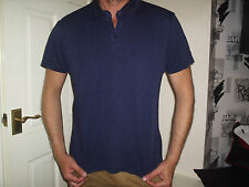 DEBENHAMS BLUE/BLACK SHORT SLEEVE BUTTON DOWN TOP SIZE LARGE
