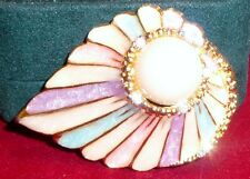 """Gorgeous Pastel Enamel Brooch, Large Faux Pearl, Clear Crystals, 2"""", Goldtone"""