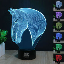 Horse Head 3D7 Color Change Night Light Home Decor Bedroom Acrylic LED Art Lamp