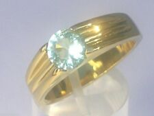 7 mm 316 Stainless Steel Solitaire March Stone Aqua Men Gold Plated Ring Size 8