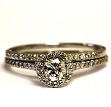 14k white gold .56ct diamond halo engagement ring wedding band vintage 3.1g