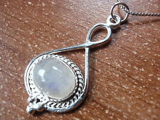Moonstone 925 Sterling Silver Necklace with Rope Style Accent New r611b