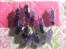 WHOLESALE LOT 10 AMETHYST STEEL WIRE WRAPPED CRYSTALS CHARMS PENDANTS