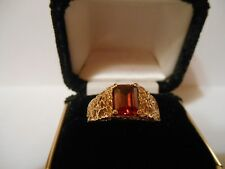 Mens Ring 10KT Yellow Gold Gents Hyacinth Zircon