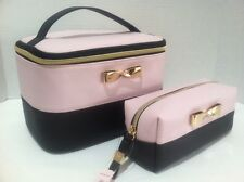 2 Victoria's Secret Travel Train Case Cosmetic Bag Pink Black Gold Bow New Set