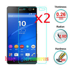 2Pcs Premium Real Tempered Glass Film Screen Protector For Sony Xperia C5 Ultra